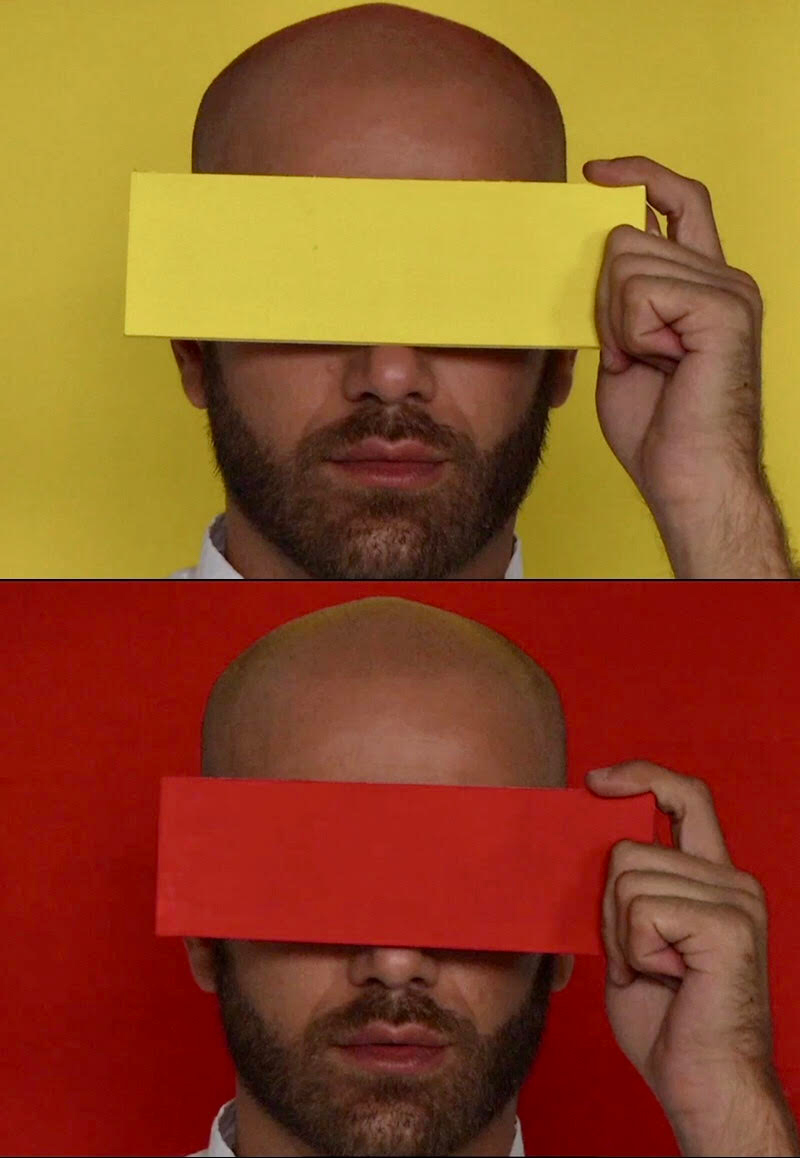 Portraits of Jonathan VanDyke holding a colored piece of paper in front of his face.