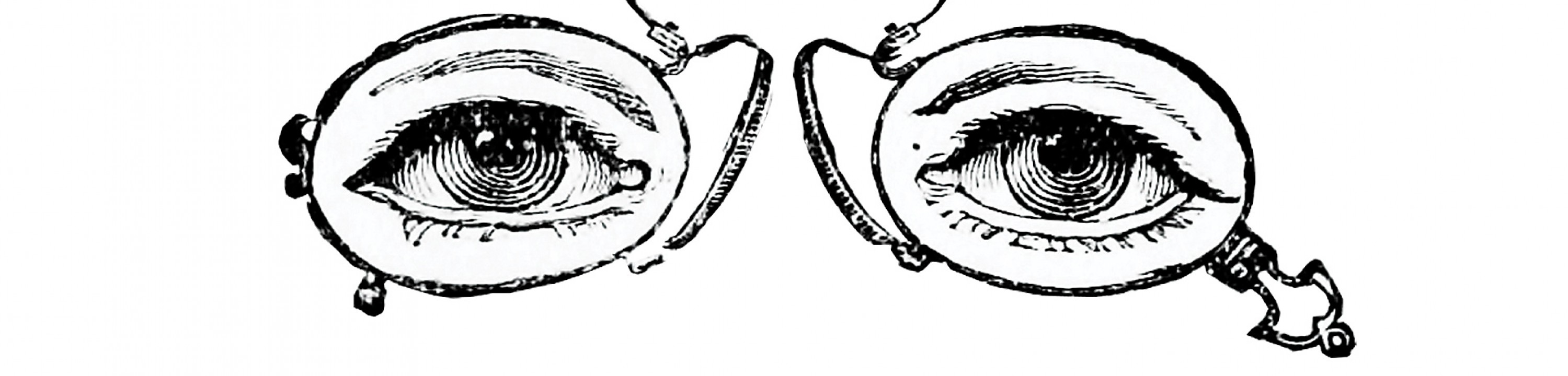 An illustration of eyes in old-timey spectacles.