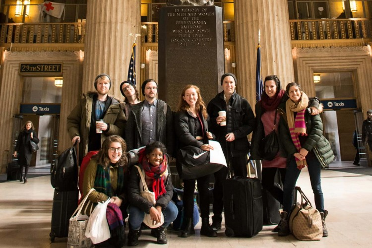 Students pose in 30th Street Station